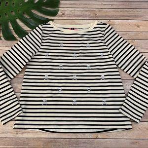 Betsey Johnson skull embroidered stripe sweatshirt